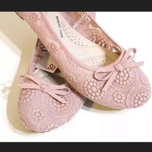 SO Shoes - Rose Lace Ballerina Flats Shoes Size 11 Pink